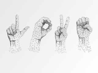 Love Sign language Ok, peace, victory agreement gesture. 3d low poly model of human hand. Origami style Polygonal space low poly. Silent communication. Connection wireframe. Vector on white background