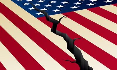 Cracked US flag, vector illustration