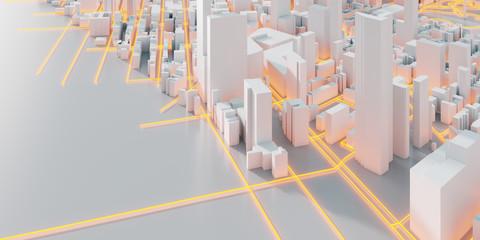 Techno mega city; urban and futuristic technology concepts, original 3d rendering Wall mural