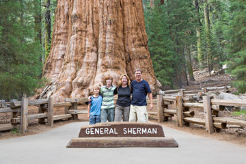 happy family enjoys posing in sequoia national park in front of general sherman sequoia tree