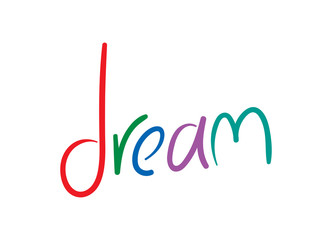 colorful dream word hand drawn vector