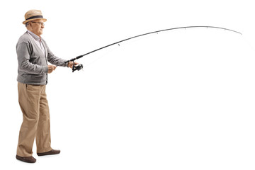 Mature man with a fishing rod Wall mural