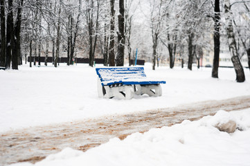 city Park in winter, provincial cities