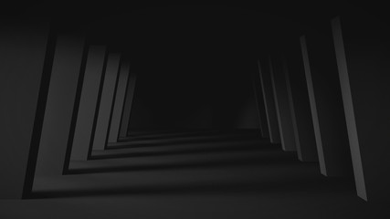 Dark tunnel with light background, 3d illustration.