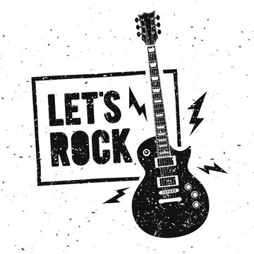 Vector Illustration Lets Rock Music Print Graphic Design with Guitar. Vintage Stamp Label. T-Shirt Lettering Artwork With  Grunge Effect