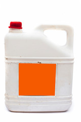 Close up of white colored Jerrican or plastic jerrican or jerry can isolate on white used for containing liquids.