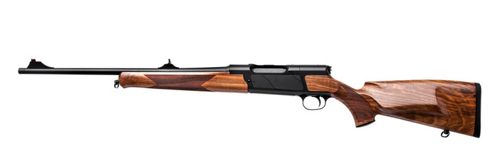 Photo sur Aluminium Chasse wooden hunting rifle isolated on white