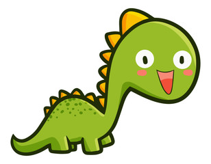Funny and cute green dinosaurs laughing - vector