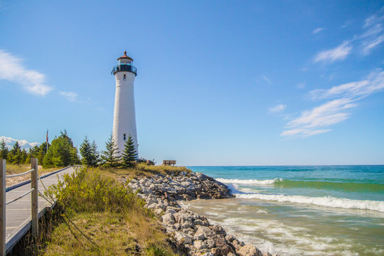 Classic Great Lakes Lighthouse. Crisp Point Lighthouse on the remote shores of Lake Superior in the Upper Peninsula of Michigan.