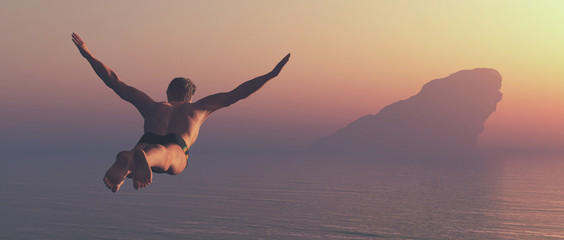 Athlete jumps into a lake