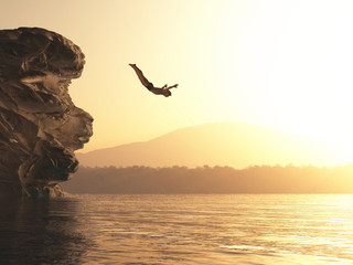 Athlete jumps into a lake Wall mural