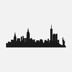 silhouette of the city of New york, the famous city of america