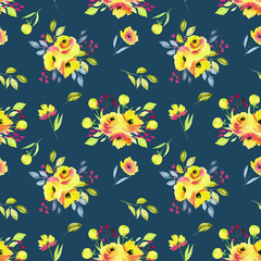 Watercolor yellow roses bouquets seamless pattern