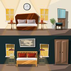 bedroom interior set vector illustration