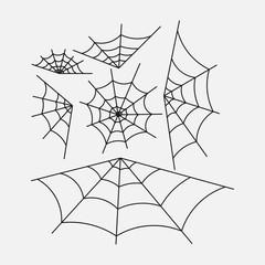 set of spider webs, halloween design, decoration with spider