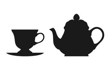 Teapot and cup isolated on white background. Teatop silhouettes icon. Vector stock.