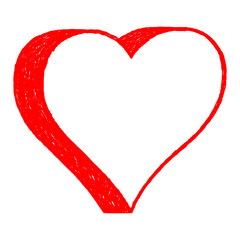 Red heart drawing is created with a ballpoint pen from the hand. The design graphic element is saved as a vector illustration in the EPS file format.