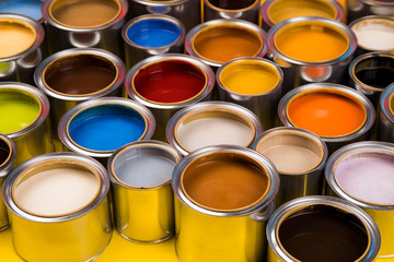 Collection of colored paints cans