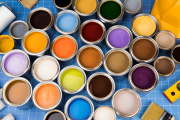 Metal cans with color paint.