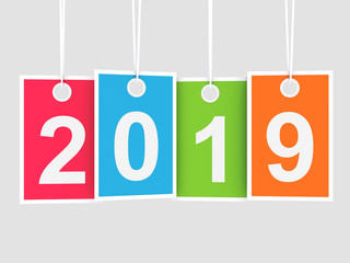 2019 new year on hanging colored labels
