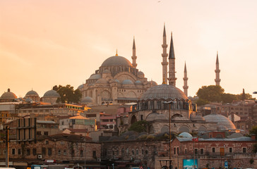 Istanbul, Turkey, the Blue Mosque, Sultanahmet at the sunset.