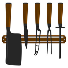 Illustration on theme big colored set different types knives
