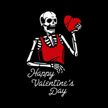 HAPPY VALENTINE'S DAY SKELETON WITH HEART BANNER BLACK BACKGROUND