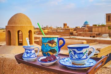 Lunch on adobe roof, Yazd, Iran