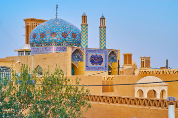 Scenic patterns of old mosque, Yazd, Iran