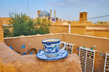 Cup of coffee in old Yazd, Iran