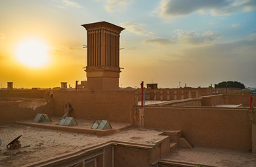 Sunset over the roofs of Yazd, Iran