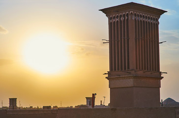 Bright sunset in Yazd, Iran