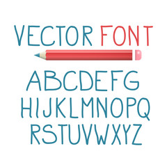 Vector Font with Pencil. Alphabet Typography Design.