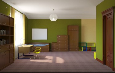 children's room, child's room, interior visualization, 3D illustration