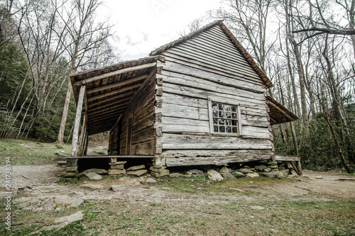 Great Smoky Mountain Cabin Exterior Of Historical Pioneer Log Cabin