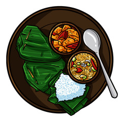 """Cute and Funny """"Sego Kucing"""", a traditional rice food from Java, Indonesia - vector"""