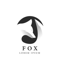 Fox silhouette in circle. Creative symbol. Negative space. Vector