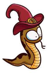 Funny and scary snake wearing witch hat for Halloween - vector.