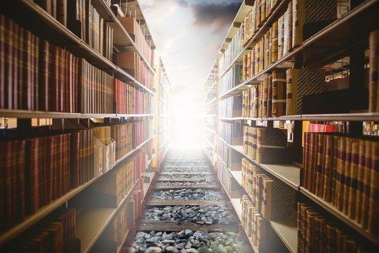 Composite image of close up of a bookshelf
