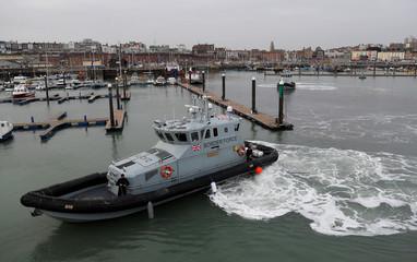 Border Force crews of British Coastal Patrol vessels position their craft in Ramsgate harbour