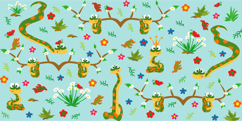 Pattern with cute snakes. Cartoon style. Vector illustration.