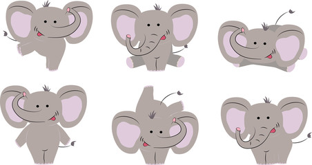 6 poses of nice cute elephant. Cartoon style. Vector illustration.