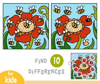 Find differences education game, bees