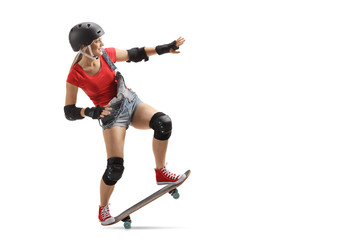 Skater girl with a skateboard and helmet