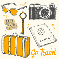 Travel hand-drawn set with sunglasses, tickets, key, camera, passport, suitcase. Vector illustration in sketch style on white background. Brush calligraphy elements. Handwritten ink lettering.