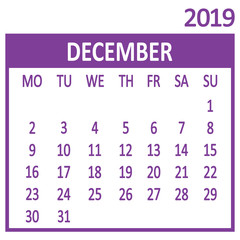 December. Twelfth page of set. Calendar 2019, template. Week starts from Monday. Vector illustration