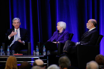 U.S. Federal Reserve Chairman Jerome Powell, former Fed chairs Janet Yellen and Ben Bernanke speak during a panel discussion at the American Economic Association/Allied Social Science Association 2019 meeting in Atlanta