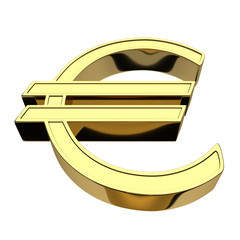 3D rendering of a currency Euro symbol, gold, isolated on white background.
