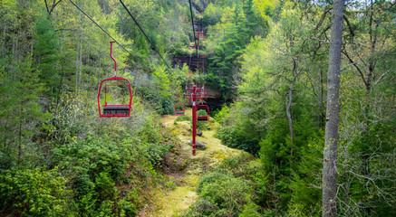 Kentucky State Parks. Scenic chair lift through the Appalachian Mountains in Natural Bridge State Park in Slade, Kentucky.