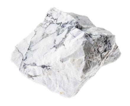 rough howlite stone on white